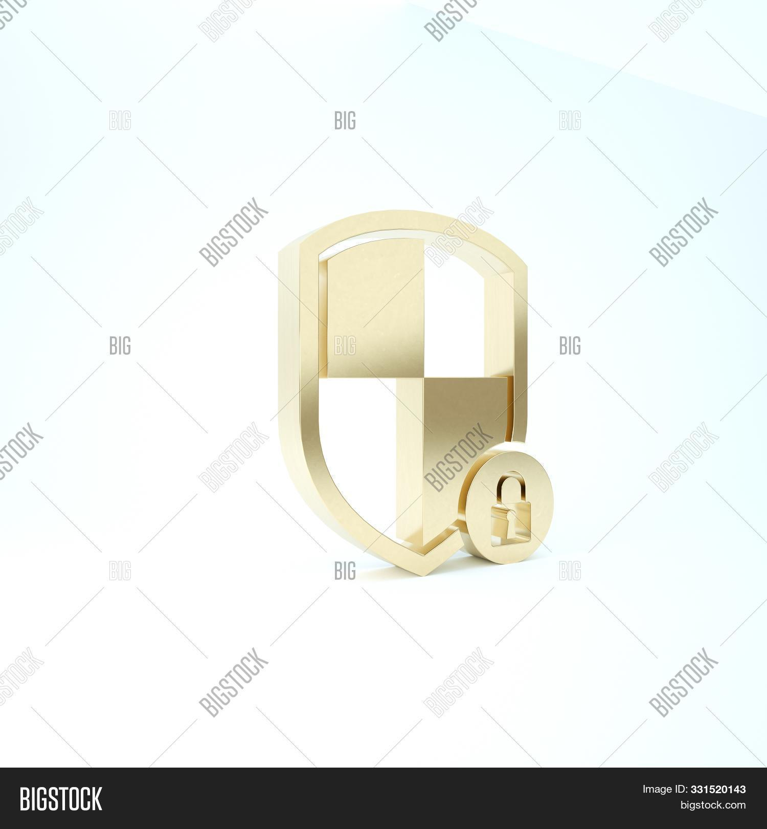 Gold Shield Security With Lock Icon Isolated On White Background. Protection, Safety, Password Secur