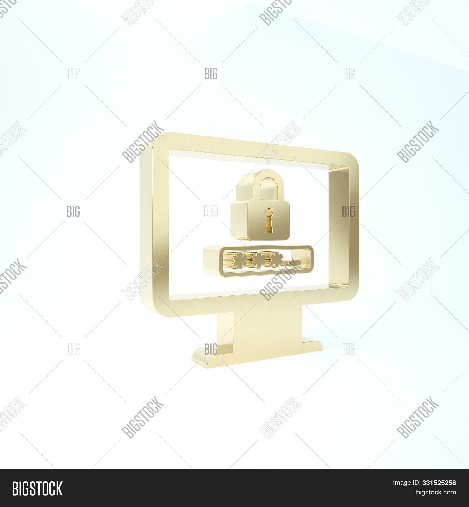 Gold Monitor With Password Notification And Lock Icon Isolated On White Background. Security, Person