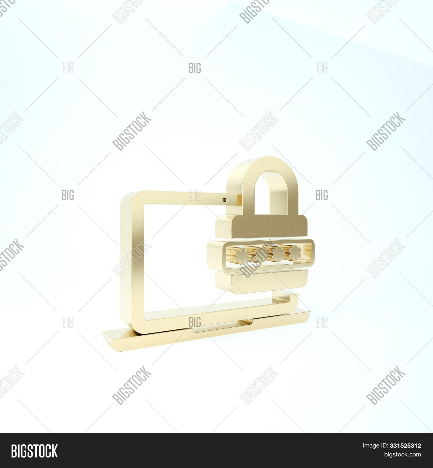 Gold Laptop With Password Notification And Lock Icon Isolated On White Background. Security, Persona