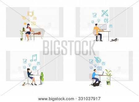 Freelance designers set. Men and women working on computers at home with pets. Flat vector illustrations. Lifestyle, freelancers distance job concept for banner, website design or landing web page stock photo