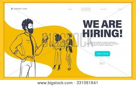 Web page design template with multiracial business people isolated,  employment and recruitment concept. Hand drawn sketch doodle style. UI, UIX, mobile app. Vector illustration. stock photo