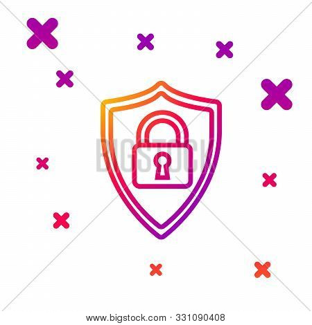 Color line Shield security with lock icon isolated on white background. Protection, safety, password security. Firewall access privacy sign. Gradient random dynamic shapes. Vector Illustration stock photo