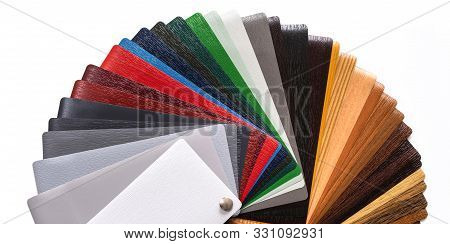 Presentation of samples. Samples for lamination. Multi-colored laminate. Color palette stock photo