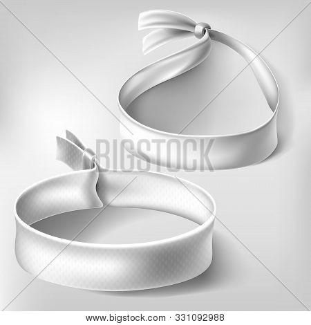 Wristband mockup set. Blank white paper or cloth bracelets with lock. Empty round hand event party wrist band mock up isolated. Clear concert bangle. Realistic 3d vector illustration, icon, clip art stock photo