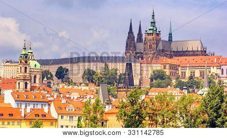 City summer landscape - view of the Hradcany historical district of Prague and castle complex Prague Castle, Czech Republic stock photo