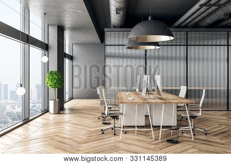 White office lobby interior with reception desk, computers, shadows, city view, daylight and empty copyspace on stone wall. Mock up, 3D Rendering stock photo
