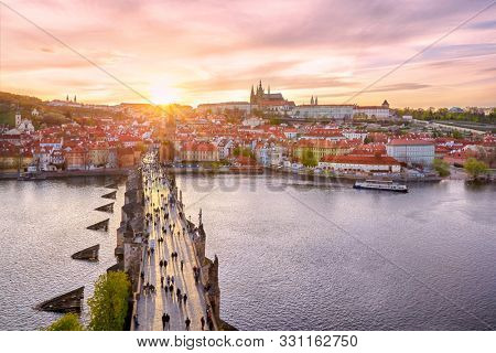 aerial view from the Bridge tower on Charles Bridge and Prague Castle, Czech Republic stock photo
