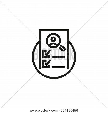 Checklist line icon. CV, magnifier, checkmark. HR concept. Vector illustration can be used for topics like work search, headhunting, business stock photo