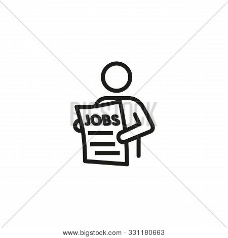 Employee line icon. Employed person, newspaper, searching. Job search concept. Vector illustration can be used for topics like work search, headhunting, business stock photo
