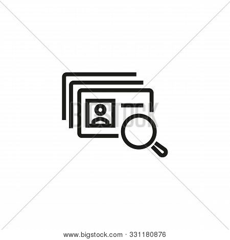 Head hunting line icon. ID cards, magnifier, searching. HR concept. Vector illustration can be used for topics like work search, headhunting, business stock photo
