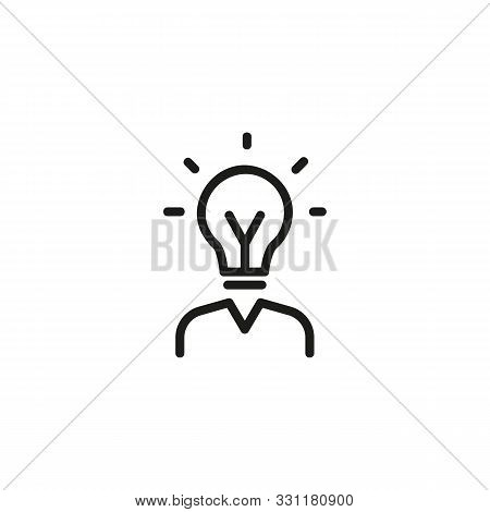 HR line icon. Human resources manager, bulb, bright. HR concept. Vector illustration can be used for topics like work search, headhunting, business stock photo