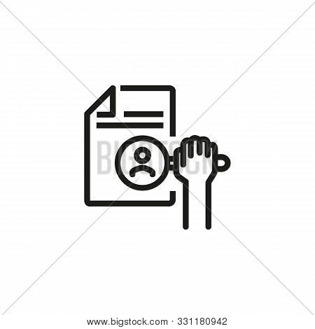 HR search line icon. CV, candidate, magnifier. HR concept. Vector illustration can be used for topics like work search, headhunting, business stock photo