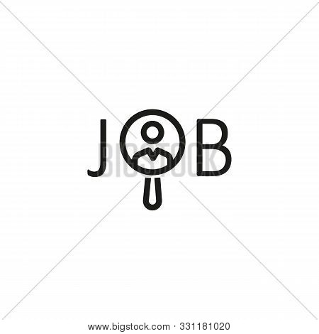 Job search line icon. Employee, magnifier, searching. Job search concept. Vector illustration can be used for topics like work search, headhunting, business stock photo