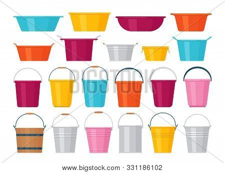 Basin, bucket icons. Plastic, metal, wooden washbowl and pails isolated. Vector. Set water containers for laundry on white background. Flat design. Colorful cartoon illustration. stock photo