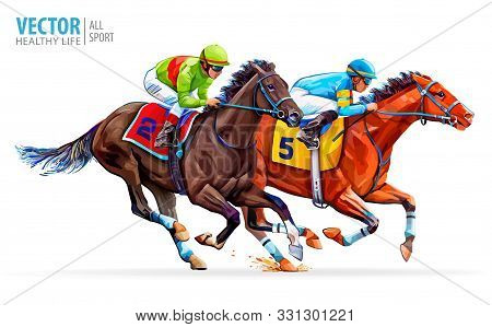 Two racing horses competing with each other. Sport. Champion. Hippodrome. Racetrack. Equestrian. Derby. Speed. Isolated on white background. Vector illustration stock photo