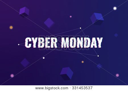 Cyber Monday. Abstract background with distorted inscription and gradient shapes. Cyber Monday Sale background. Vector illustration stock photo