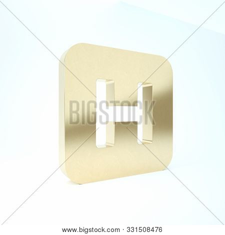Gold Hospital sign icon isolated on white background. 3d illustration 3D render stock photo
