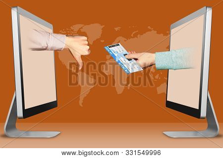electronic concept, hands from computers. thumbs down, dislike and air ticket . 3d illustration stock photo