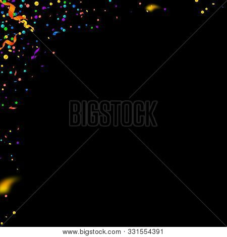 Streamers and confetti. Colorful tinsel and foil ribbons. Confetti corner on black background. Authentic paty overlay template. Cute celebration concept. stock photo