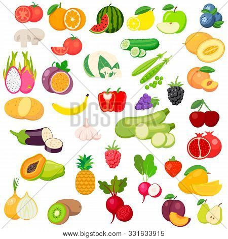 Vector fruits and vegetables icon set isolated on white background. Vector illustration. stock photo