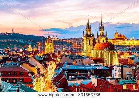 Amazing cityscape view of Prague Castle and church of our Lady Tyn, Czech Republic during sunset time. View from powder tower. World famous landmarks in Europe. stock photo