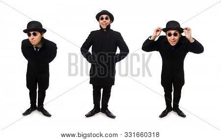 Man wearing black coat isolated on white stock photo