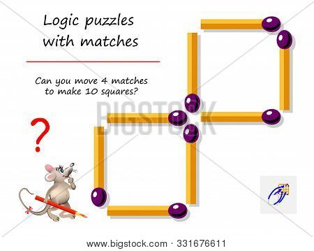 Logical puzzle game with matches for children and adults. Can you move 4 matchsticks to make 10 squares? Printable page for brain teaser book. IQ training test. Developing spatial thinking skills. stock photo