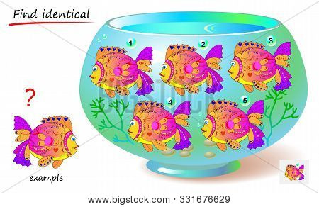 Logic puzzle game for children and adults. Find reflection of fish identical the example. Printable page for kids brain teaser book. Developing spatial thinking skills. IQ test. Vector cartoon image. stock photo
