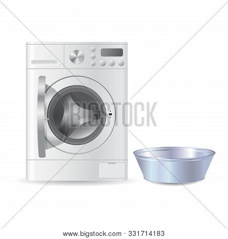 Vector realistic automatic open washing machine with front loading and metal blue empty basil for handwash isolated on white background. Laundry concept. 3D illustration. stock photo