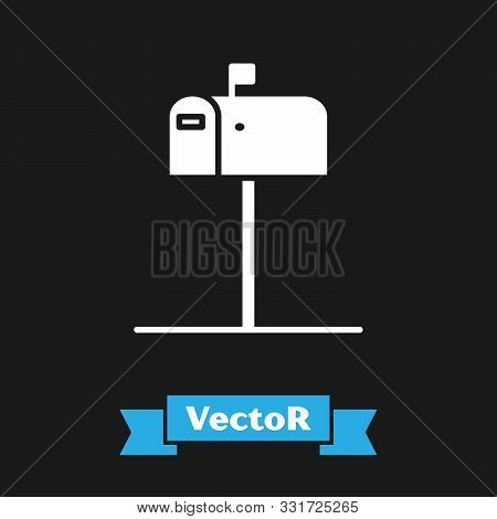 White Open mail box icon isolated on black background. Mailbox icon. Mail postbox on pole with flag. Vector Illustration stock photo