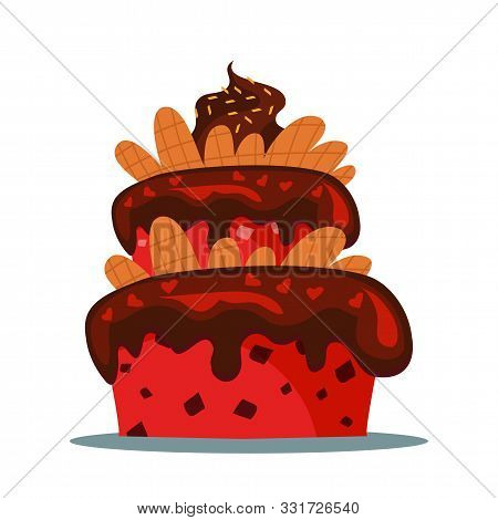 Delicious three tier cake flat vector illustration. Sweet multi layered dainty with creamy icing. Confectionery, candy shop menu item. Tasty confection, homemade delicacy, bakery product stock photo