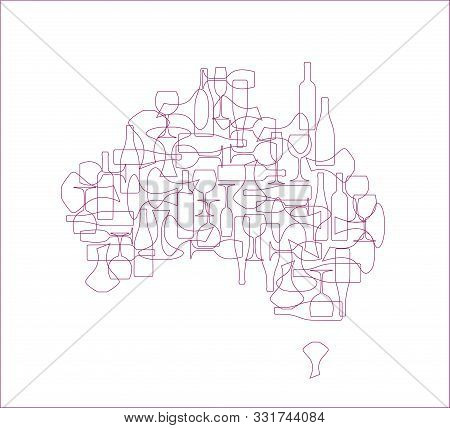 Countries winemakers - stylized maps from silhouettes of wine bottles, glasses and decanters. Map of Australia. stock photo