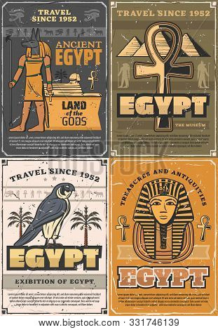 Ancient Egypt land of gods, retro museums and exhibitions. Vector God of sun Ra, falcon bird and palms, Tutankhamen mummy and pyramids. Coptic cross trees, Anubis and Horus, culture and religion stock photo