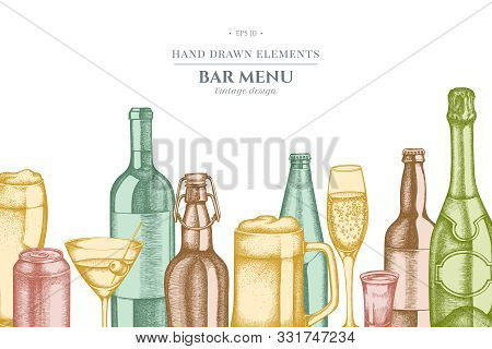 Design with pastel glass, champagne, mug of beer, alcohol shot, bottles of beer, bottle of wine, glass of champagne, glass of wine, glass of martini, aluminum can stock illustration stock photo