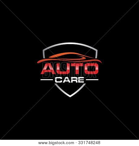 Auto car Logo Template vector icon Silver and red colors, Garage. Car Services symbol. Cars sign illustration. Automobile logo symbol. stock photo