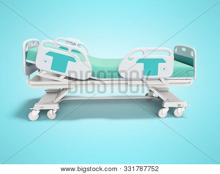 Turquoise hospital bed with lifting mechanism on an autonomous control panel right side view 3D render on blue background with shadow stock photo