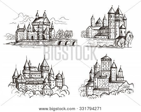 Castles. Medieval buildings for knights czech republic vintage castles old Prague architectural construction hand drawn set. Castle with tower, gothic famous sketch landmark illustration stock photo