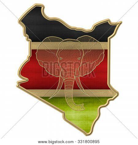 Maps outline of Kenya with golden elephants stock photo