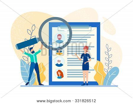 Employees of the Сompany choose with the help of Modern Technologies Applicants for a Job to Work in the Company for the Development of a Successful Business. Recruiting Concept Vector  Illustration stock photo