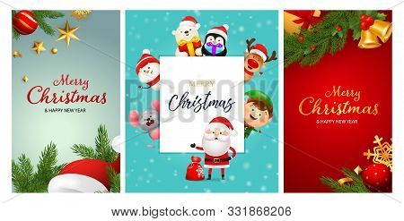 Merry Christmas blue, red banner set with animals. New Year, Christmas, winter. Calligraphy with decorative design can be used for invitations, post cards, announcements stock photo