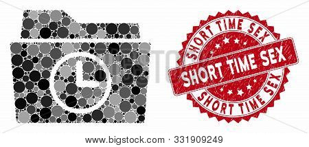 Mosaic temporary folder and rubber stamp seal with Short Time Sex text. Mosaic vector is formed with temporary folder icon and with scattered round spots. Short Time Sex stamp seal uses red color, stock photo