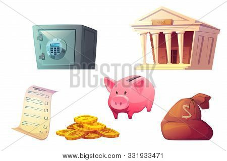 Saving money cartoon icons vector illustration. Pink piggy bank icon, bank building, safe deposit, bag and golden coins pile isolated on white background. stock photo