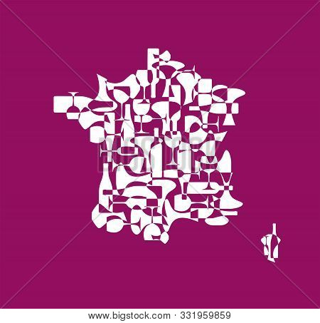 Countries winemakers - stylized maps from silhouettes of wine bottles, glasses and decanters. Map of France. stock photo