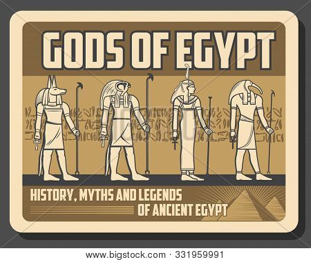 Gods of Egypt retro deities statues. Vector ancient Egypt religion and culture symbols, Ra and Anubis, Amun and Horus, hieroglyphics and treasure. Man with falcon head, Egyptian history myths legends stock photo