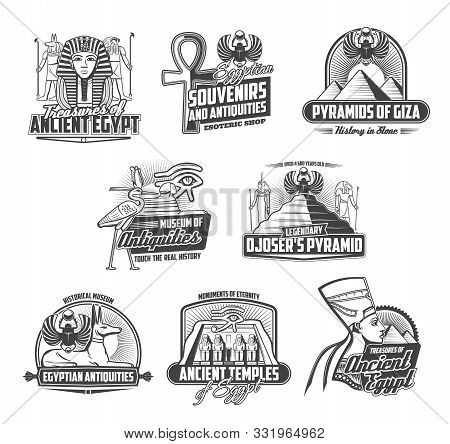 Ancient Egypt religion and culture isolated icons. Vector pharaohs and pyramids of Giza and Djoser, egyptian antiques historic museum. Anubis, Ra God, Nefertiti and Tutankhamen, Horus eye stock photo