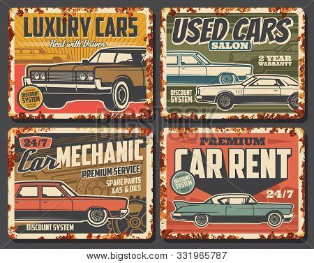 Luxury cars rent, salon of used vehicles, repair services. Vector vintage automobile shop, spare parts, oil change, gas petrol. Rent with driver, grunge retro cars of old autos, mechanic maintenance stock photo