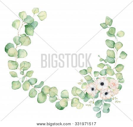 Anemone and rose  flowers and eucalyptus leaves watercolor wreath  hand drawn illustration stock photo
