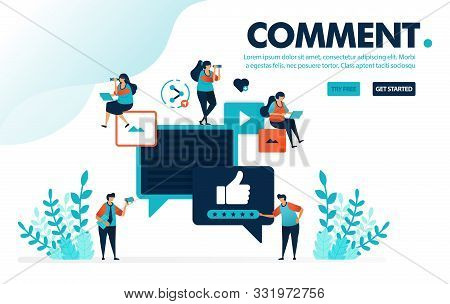 vector illustration comments thumb up. people give like and thumb up for comments and content. rating for video and image. designed for landing page, web, banner, mobile app, template, flyer, poster stock photo