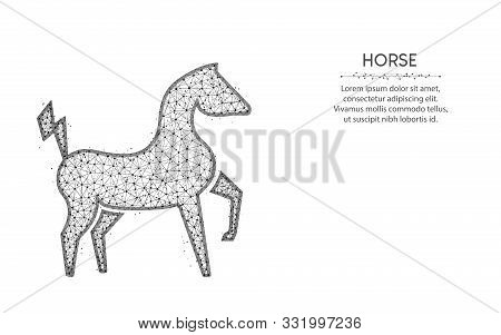 Powerful electric horse in a jump low poly design, animal abstract geometric art, zoo wireframe mesh polygonal vector illustration made from points and lines on white background stock photo