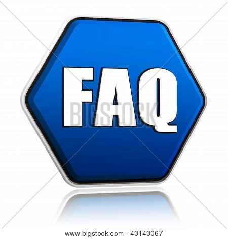 faq button - 3d blue hexagon banner with white text business concept stock photo